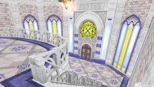 【虹の宮殿の家】2階から見た1階 1階の階段から見下ろす室内