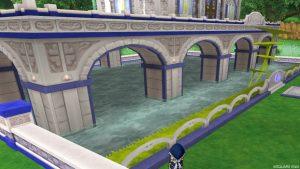 【虹の宮殿の家】庭 正面左の角から見た外観