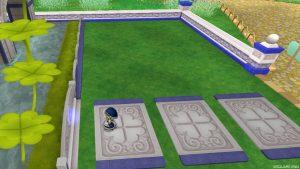 【虹の宮殿の家】庭 クローバータイルの敷石