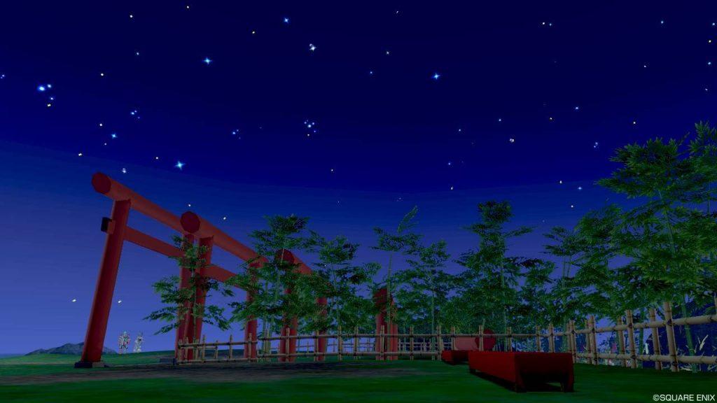 七夕の里 高台 左真横の鳥居と空