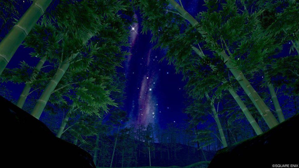 七夕の里 旅の扉 夜店方面から見上げた空