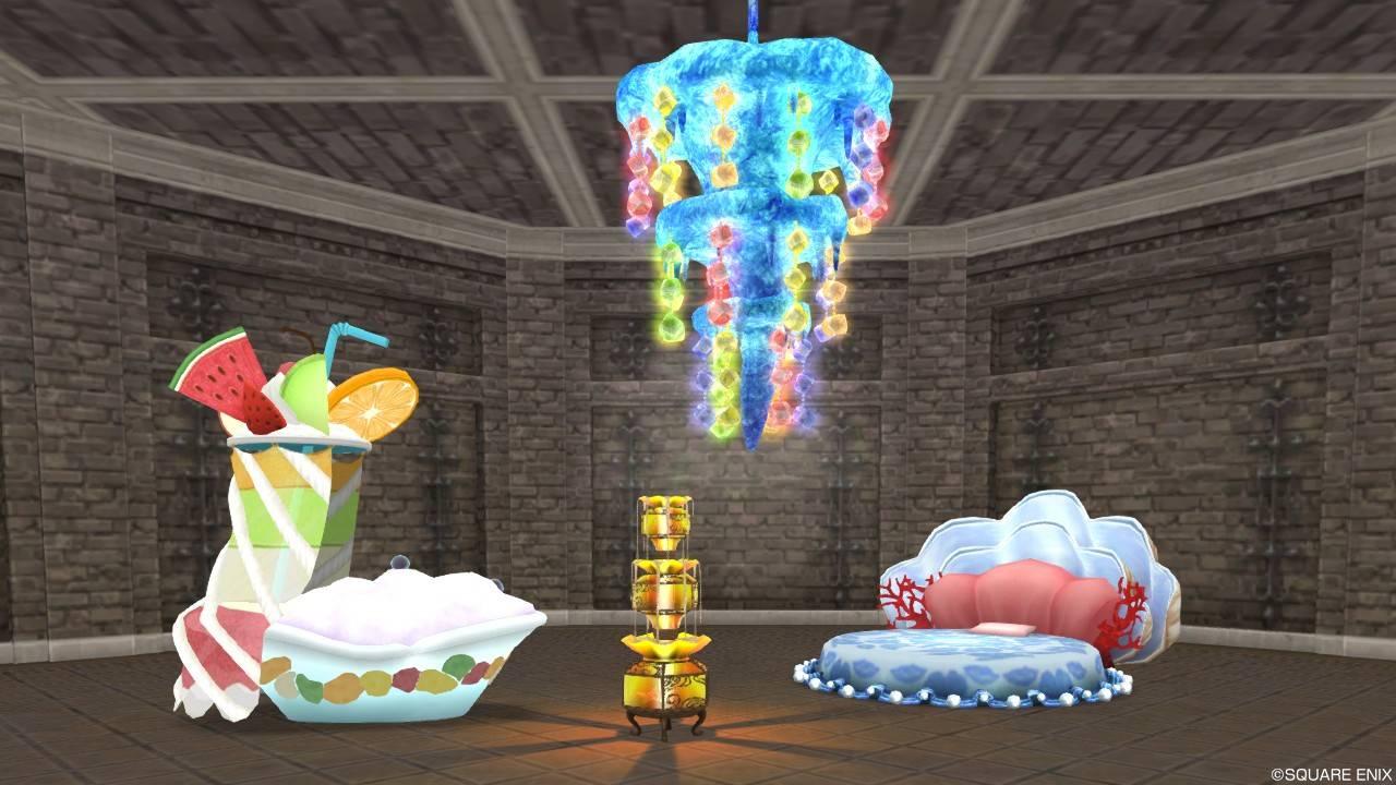 家具「フルーツバブルバス / 氷のシャンデリア / 人魚姫のシェルベッド / 砂の三段灯ろう」
