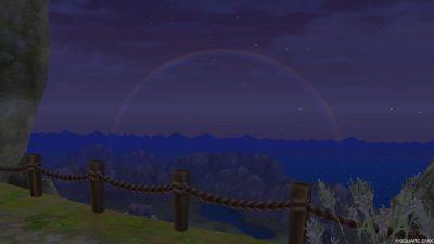 【DQ10】岳都ガタラの展望台で虹の写真を撮る