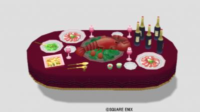 王宮のパーティ机・赤