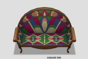 色飾りタイルのソファ