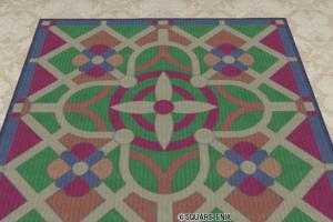 色飾りタイル柄のラグ