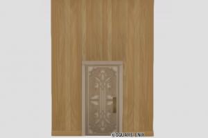 扉付き板張りの大きい壁