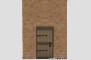 扉付きレンガの大きい壁