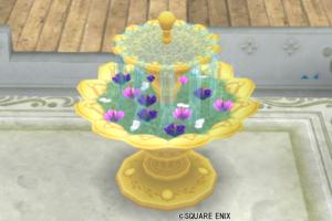 【ハウジング】庭具 > その他(庭)「お花の浮いた噴水・金」